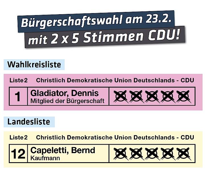 Bürgerschaftswahl am 23.02.2020 2x5 Stimmen CDU